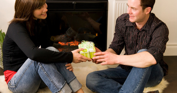 Couple giving present